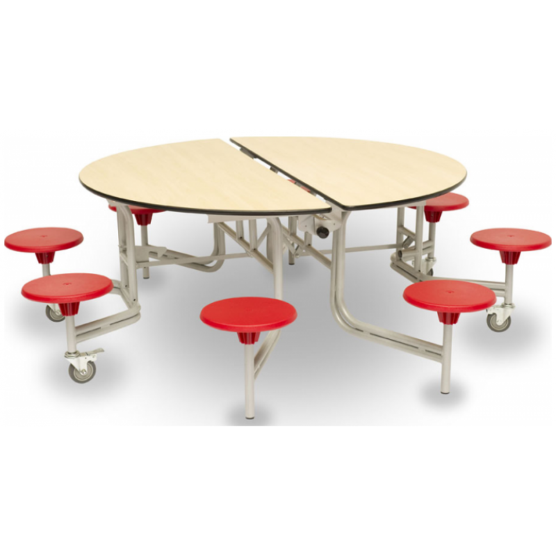 Large Round Dining Table Seats 12: Round Mobile Folding Dining Unit With 8 Seats
