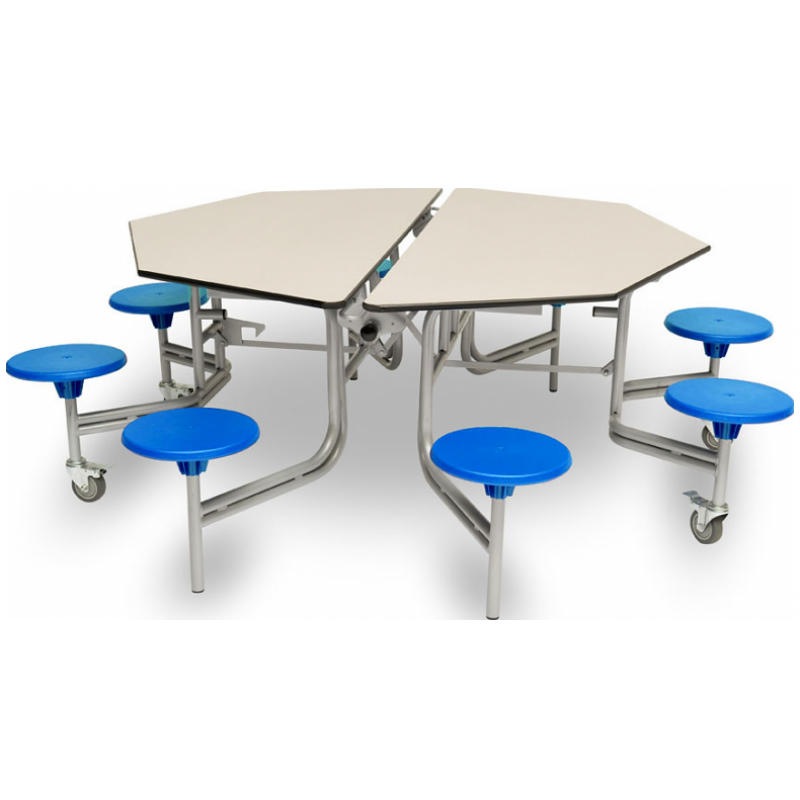 Spaceright Octagonal Mobile Folding Table Seating Unit