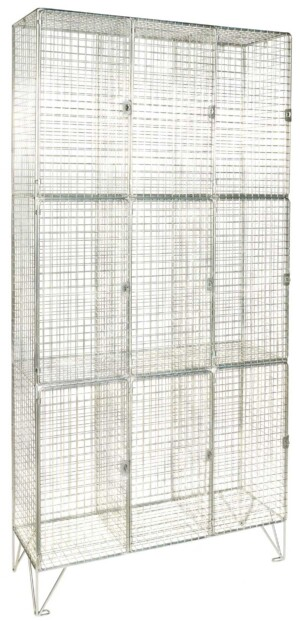 Three Door 3 Nest Wire Mesh Locker