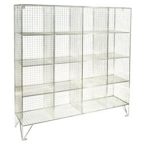 Wire Mesh Lockers 16 Compartments No Doors